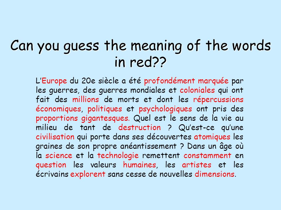 Can you guess the meaning of the words in red