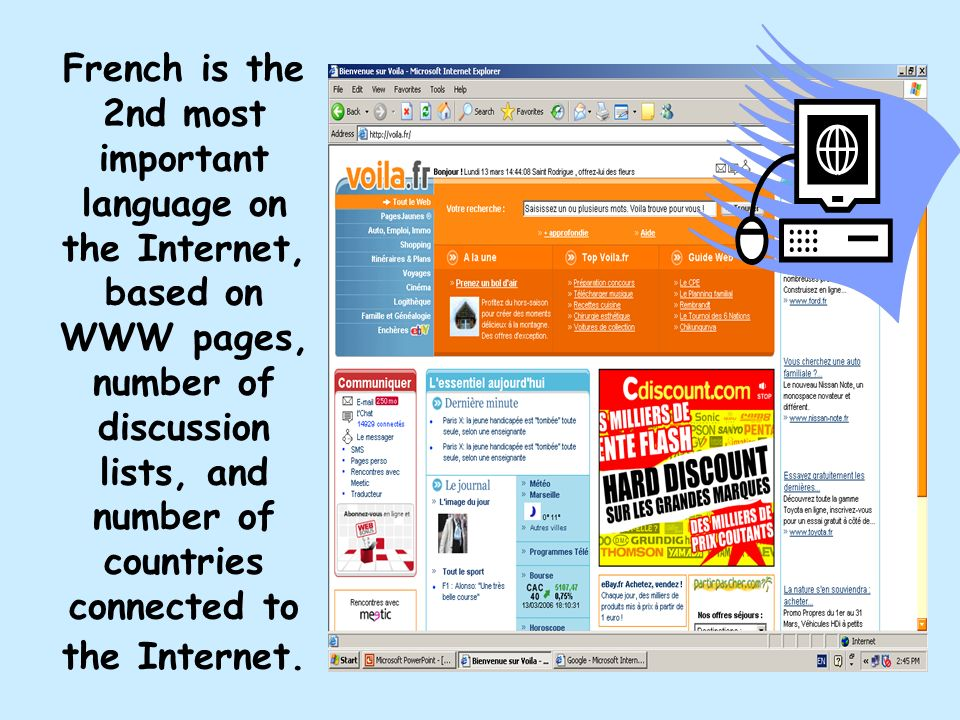 French is the 2nd most important language on the Internet, based on WWW pages, number of discussion lists, and number of countries connected to the Internet.