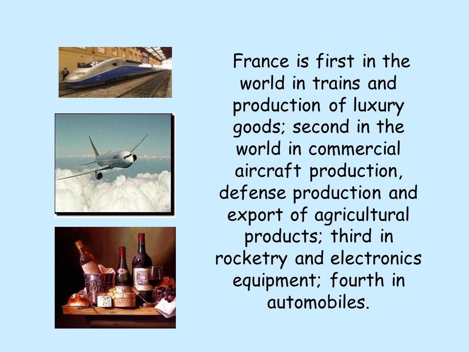 France is first in the world in trains and production of luxury goods; second in the world in commercial aircraft production, defense production and export of agricultural products; third in rocketry and electronics equipment; fourth in automobiles.