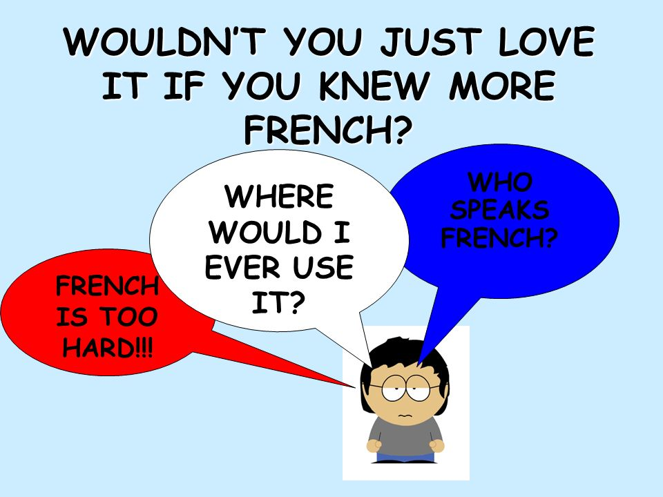 WOULDN'T YOU JUST LOVE IT IF YOU KNEW MORE FRENCH
