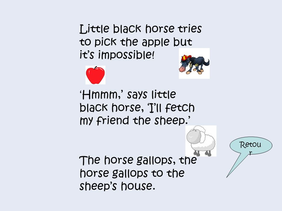 Little black horse tries to pick the apple but it's impossible!