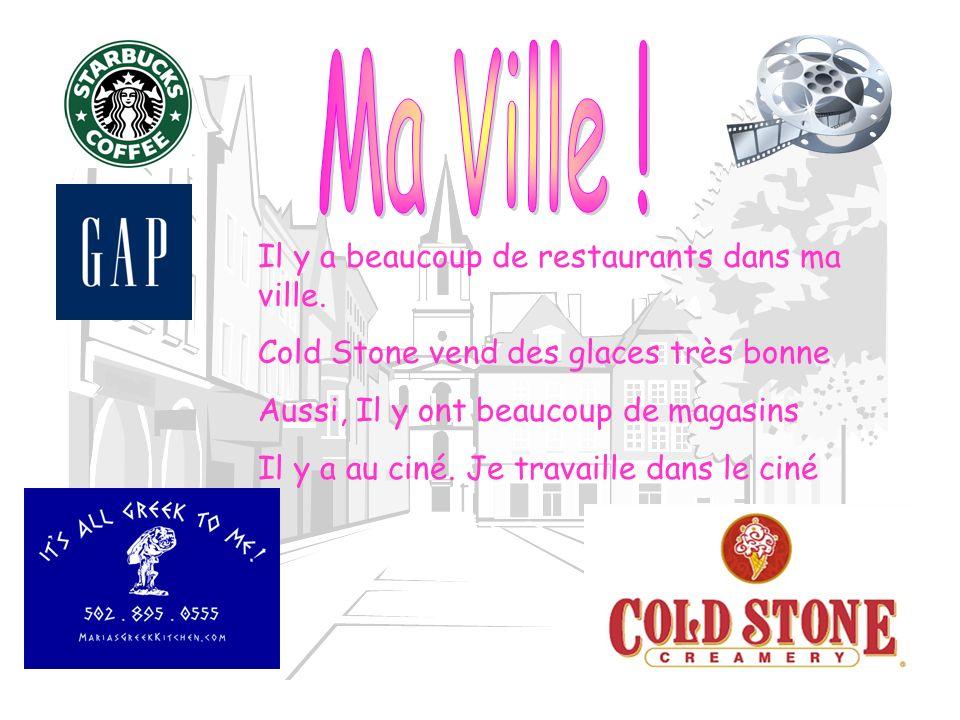 Ma Ville ! Il y a beaucoup de restaurants dans ma ville.