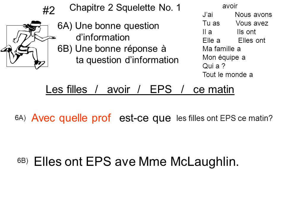 Elles ont EPS ave Mme McLaughlin.
