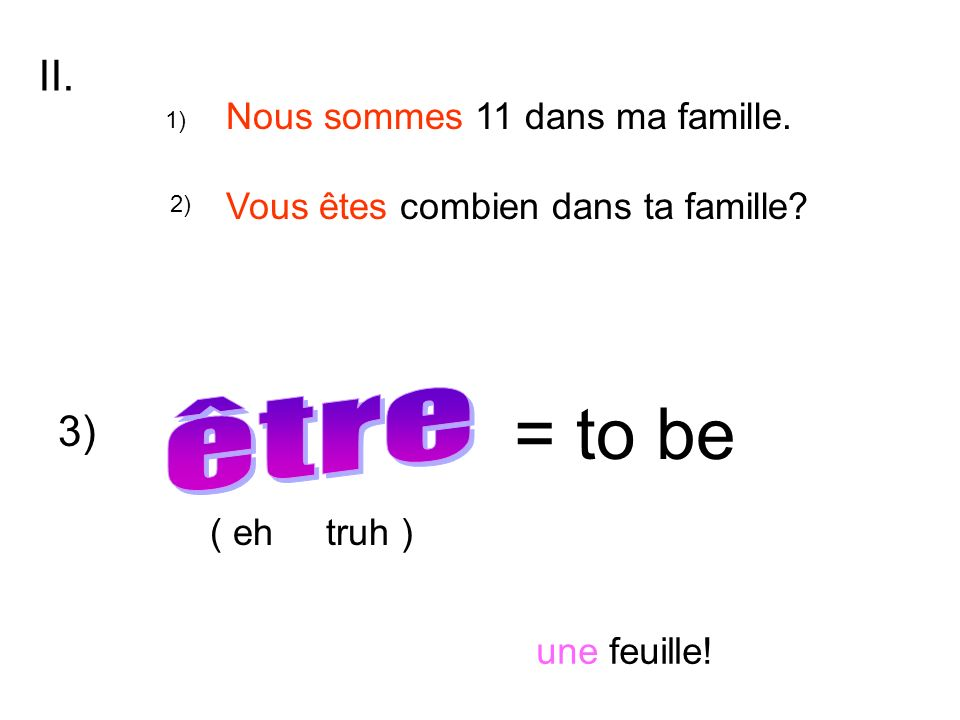 = to be être II. 3) Nous sommes 11 dans ma famille.