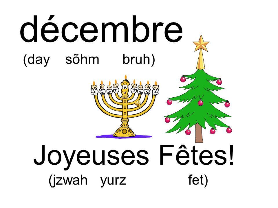 décembre (day sõhm bruh) Joyeuses Fêtes! (jzwah yurz fet)