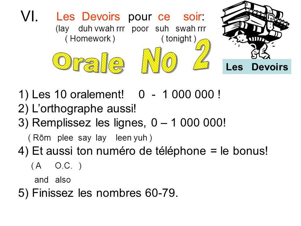 VI. Orale No 2 Les Devoirs pour ce soir:
