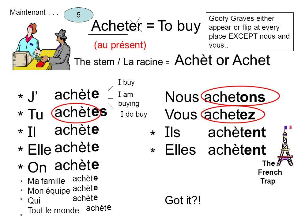 Acheter = To buy Achèt or Achet e es achèt J' Tu Il Elle On Nous Vous