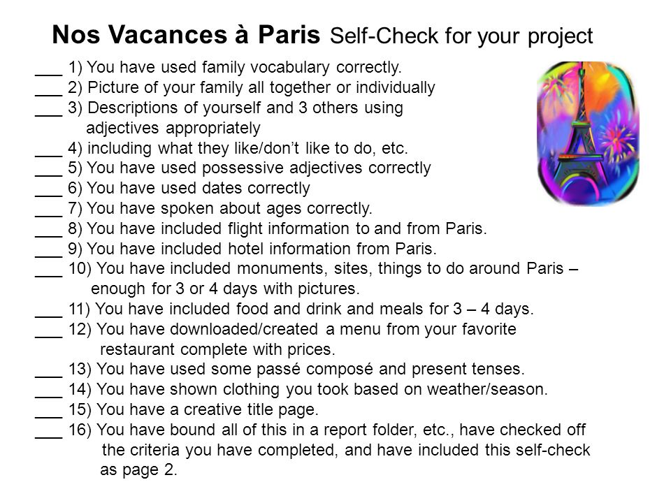 Nos Vacances à Paris Self-Check for your project