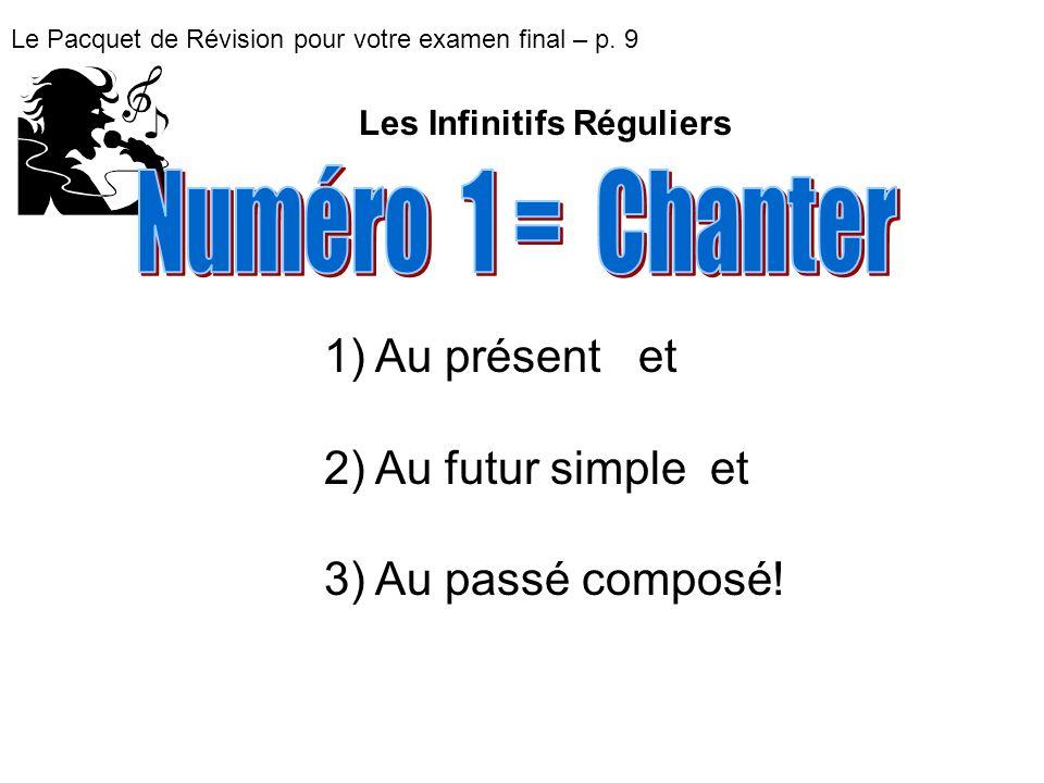 Numéro 1 = Chanter Au présent et Au futur simple et Au passé composé!