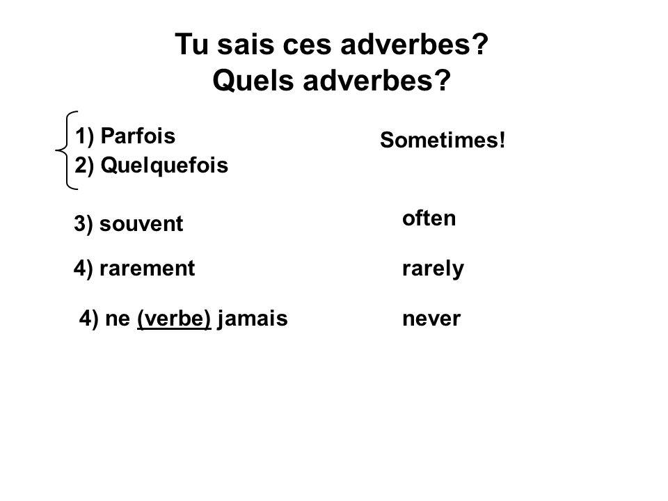 Tu sais ces adverbes Quels adverbes