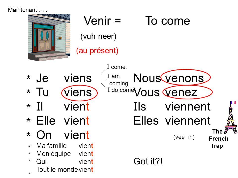 Venir = To come Je Tu Il Elle On viens vient Nous Vous Ils Elles