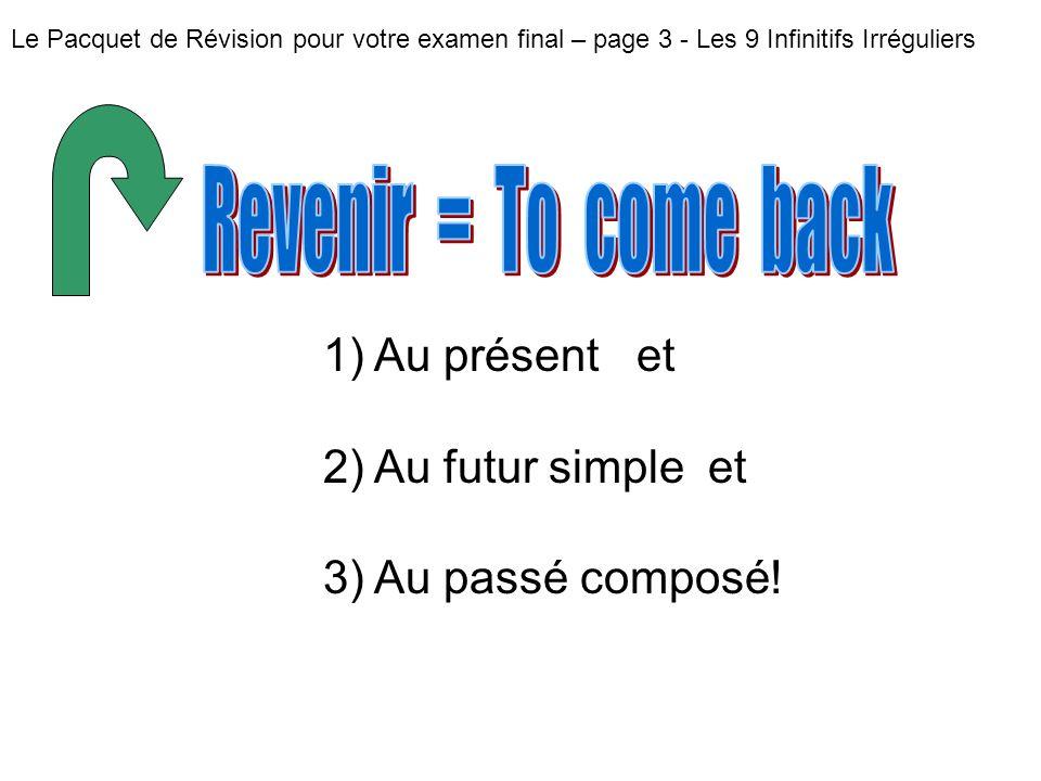 Revenir = To come back Au présent et Au futur simple et