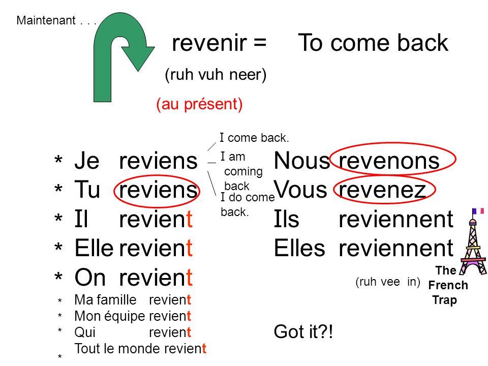 revenir = To come back Je Tu Il Elle On reviens revient Nous Vous Ils