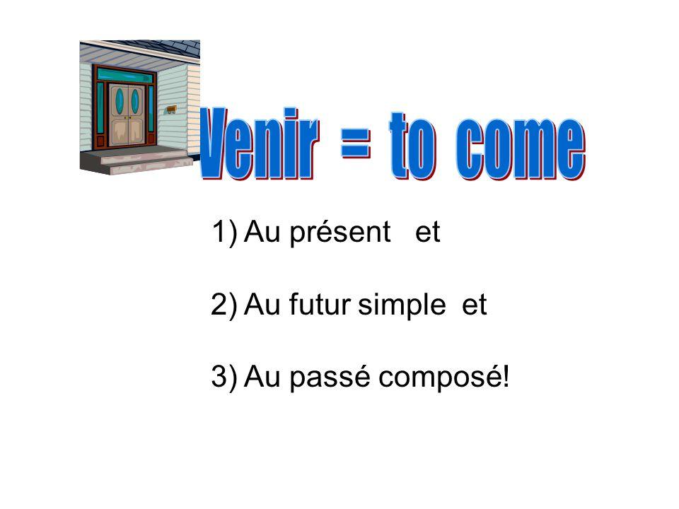 Venir = to come Au présent et Au futur simple et Au passé composé!