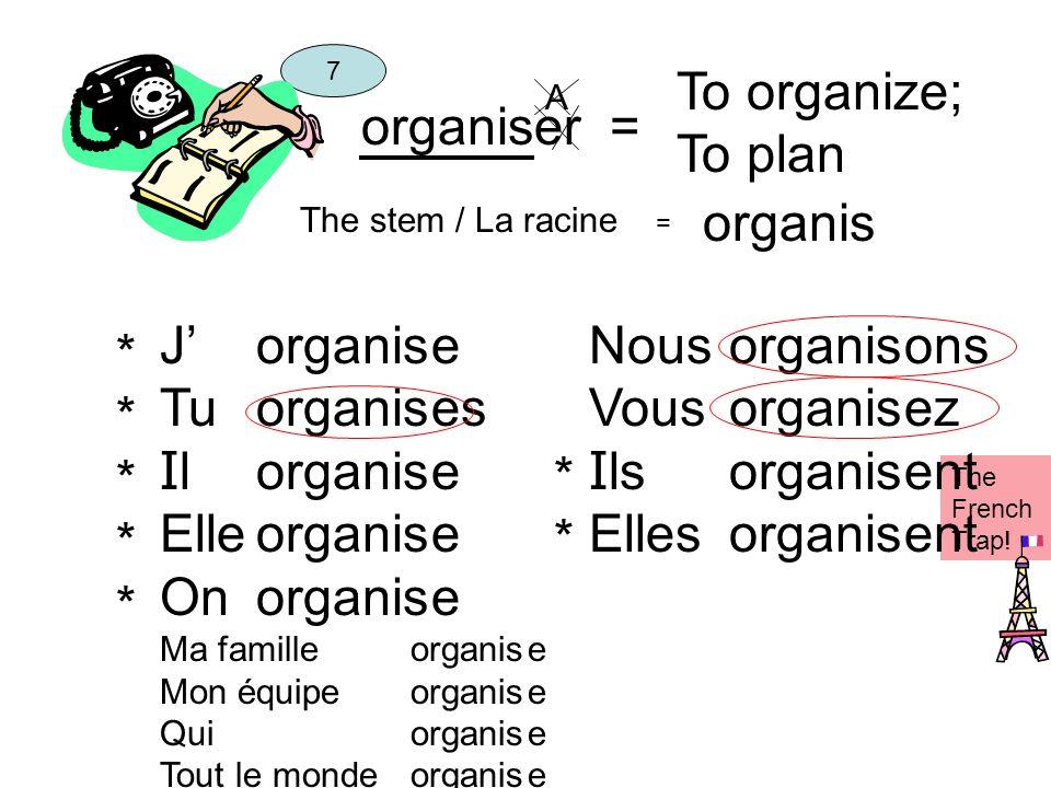 To organize; To plan organiser = organis J' Tu Il Elle On organis e es