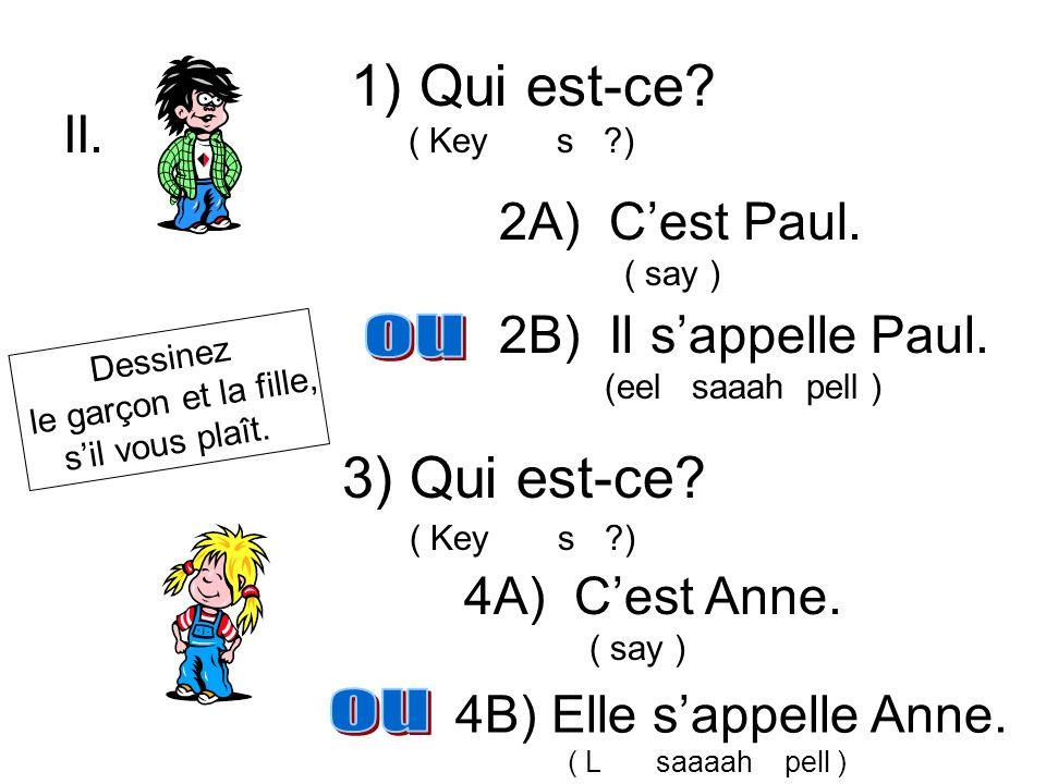 Qui est-ce 3) Qui est-ce II. 2A) C'est Paul. 2B) Il s'appelle Paul.