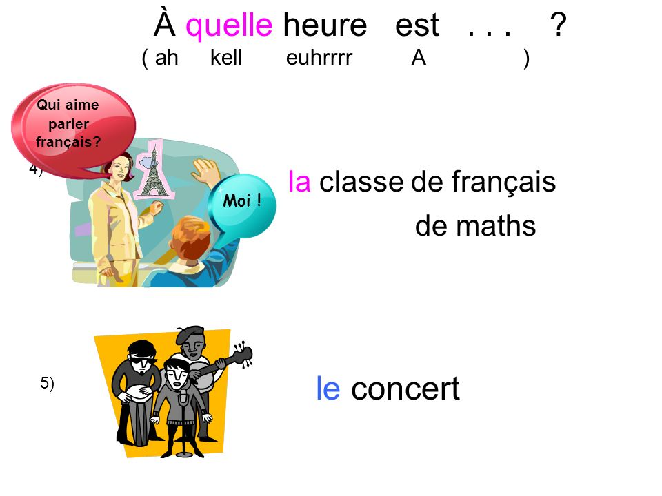 À quelle heure est . . . le concert la classe de français de maths
