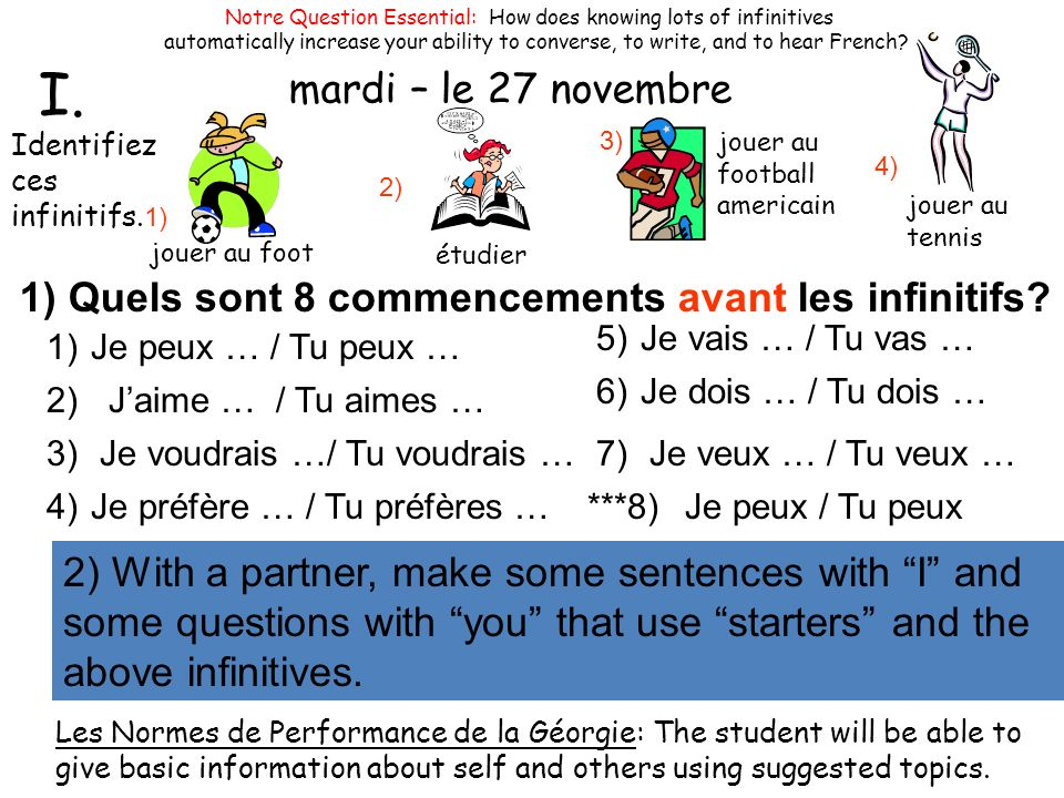 mercredi – le 29 octobre Notre Question Essential: How does knowing lots of infinitives.