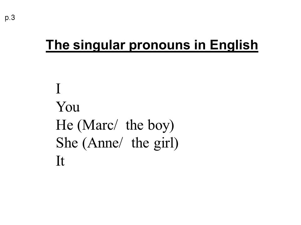 I You He (Marc/ the boy) She (Anne/ the girl) It