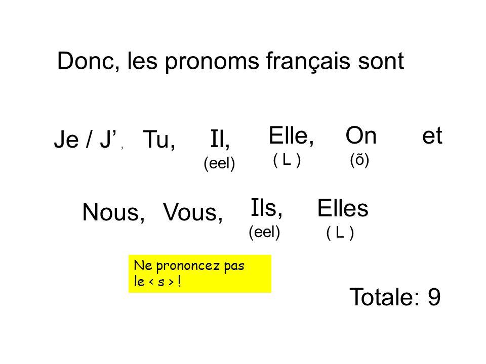 Donc, les pronoms français sont