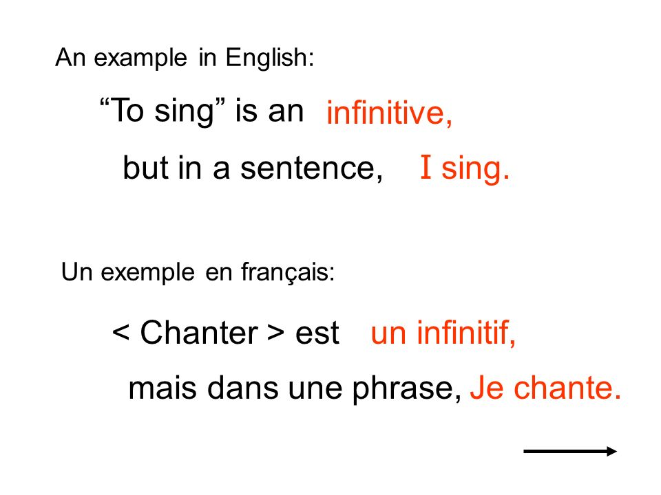 To sing is an infinitive, but in a sentence, I sing.