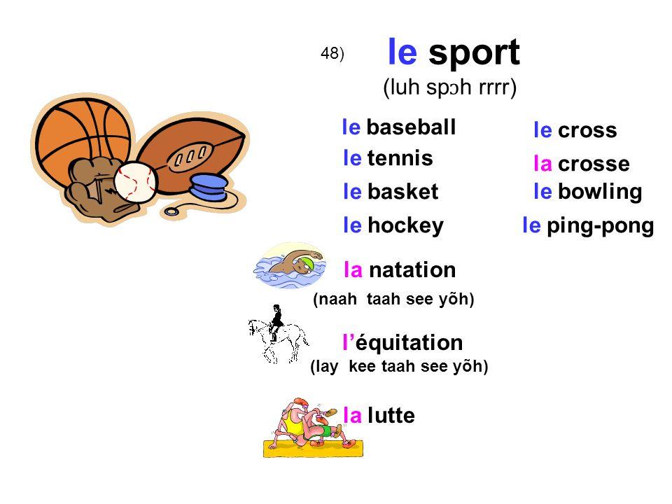 le sport (luh spɔh rrrr) le baseball le cross le tennis la crosse