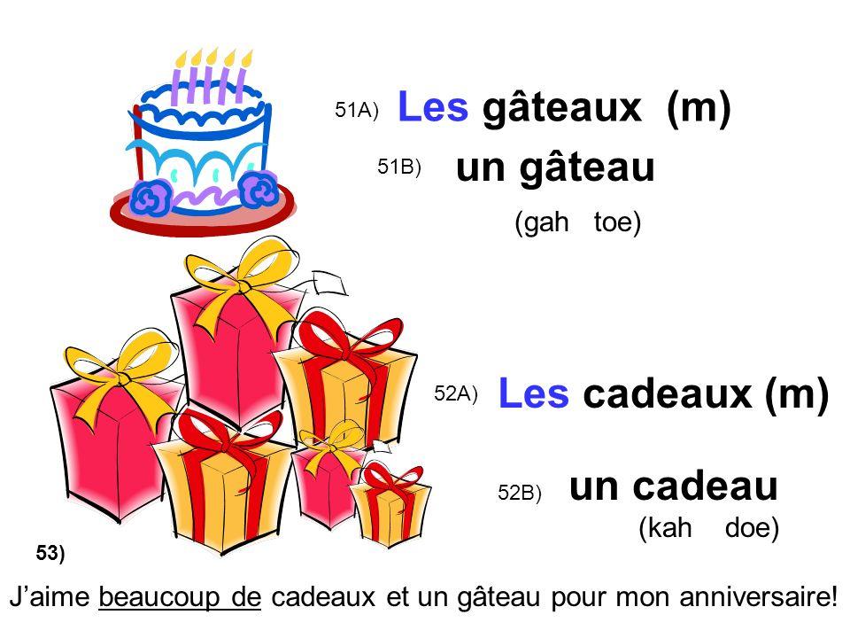 Les gâteaux (m) un gâteau (gah toe) Les cadeaux (m) un cadeau