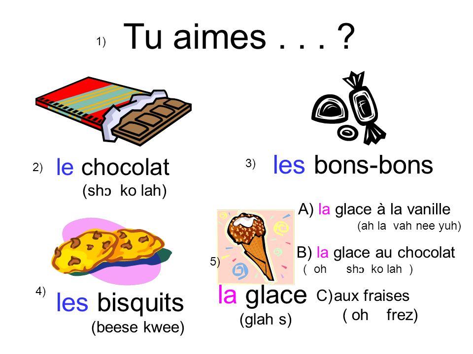 Tu aimes . . . les bons-bons la glace les bisquits le chocolat
