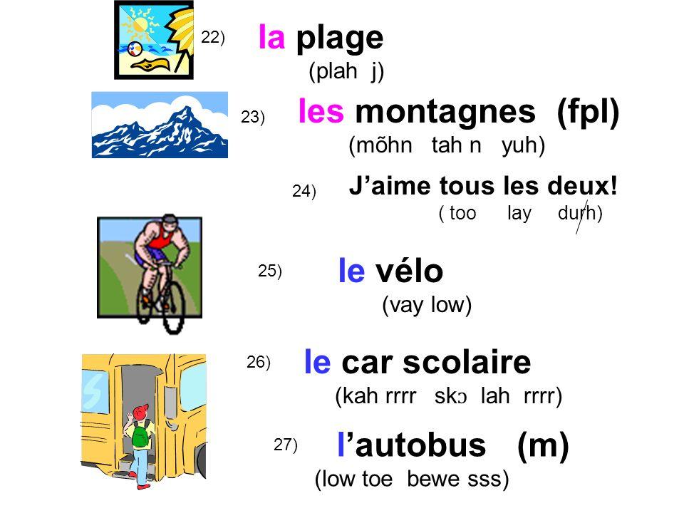 la plage les montagnes (fpl) le vélo le car scolaire l'autobus (m)