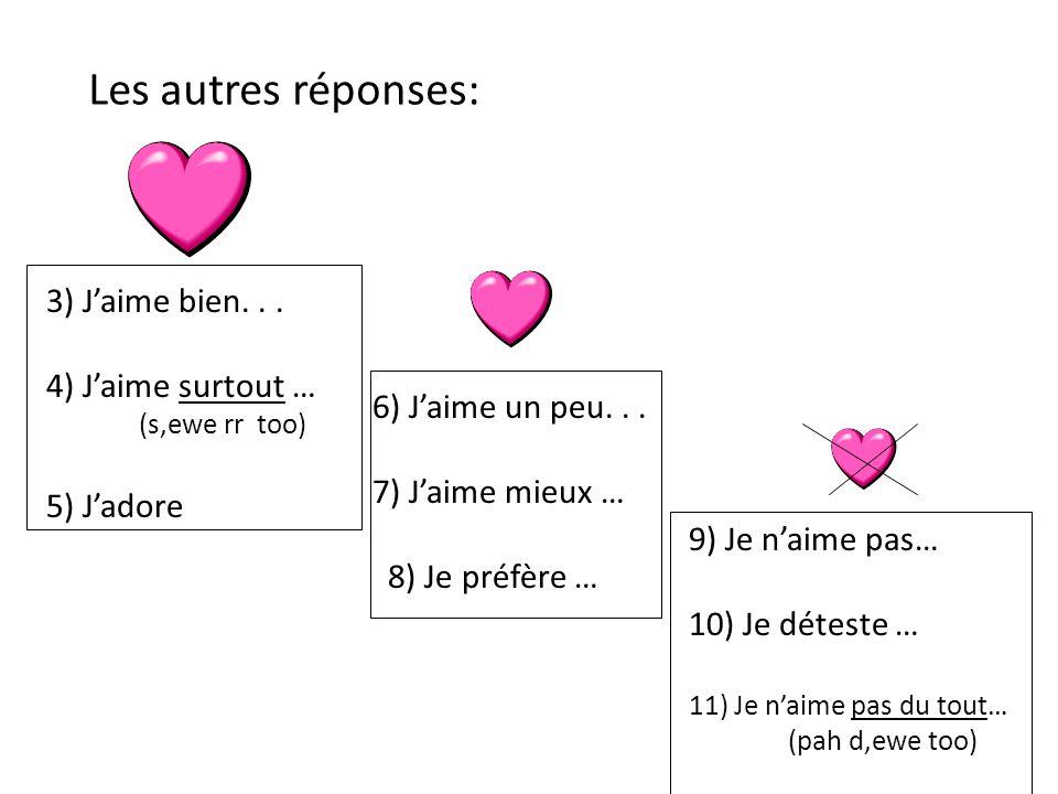 Les autres réponses: 3) J'aime bien. . . 4) J'aime surtout …