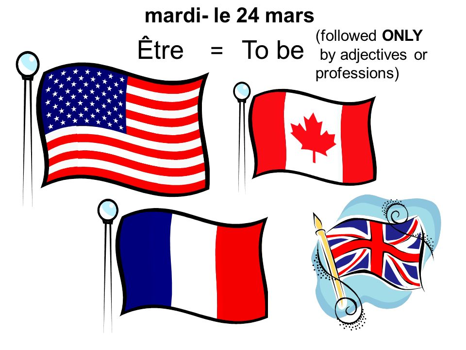 Être = To be mardi- le 24 mars (followed ONLY