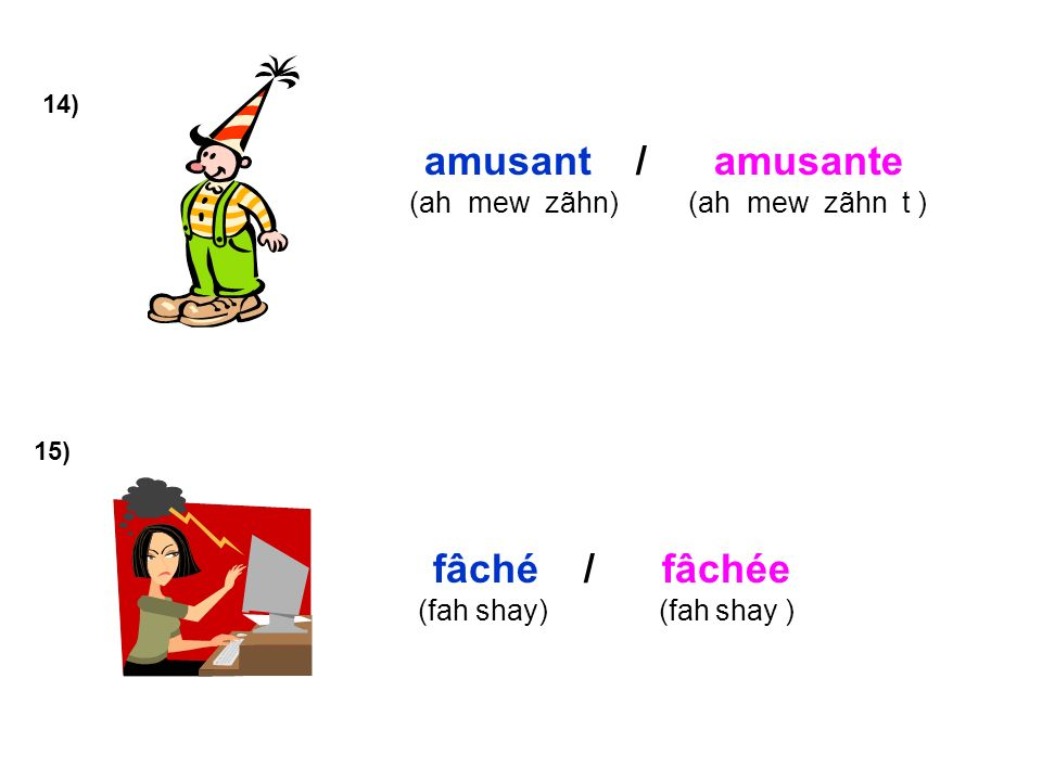amusant / amusante fâché / fâchée (ah mew zãhn) (ah mew zãhn t )