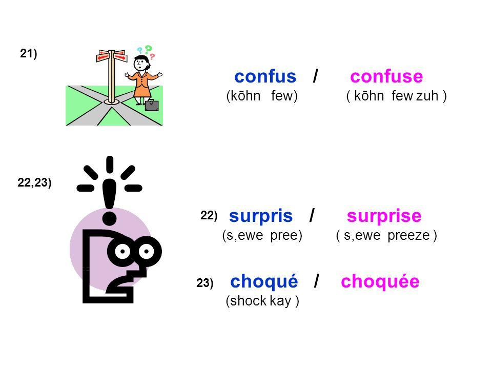 confus / confuse surpris / surprise choqué / choquée