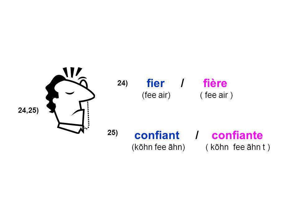 fier / fière confiant / confiante (fee air) ( fee air )
