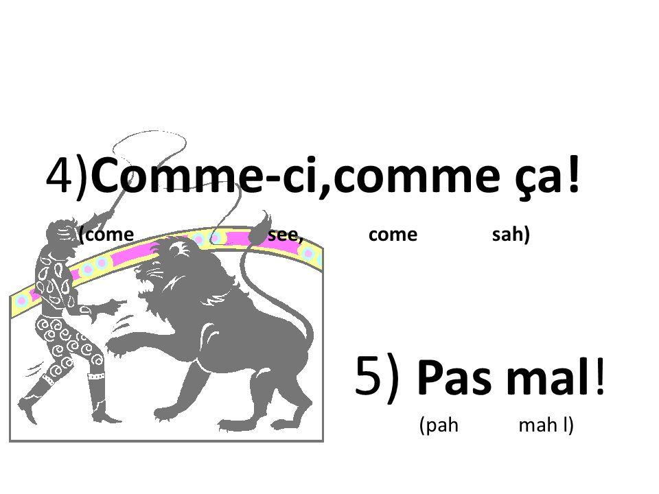 4)Comme-ci,comme ça! (come see, come sah) 5) Pas mal!