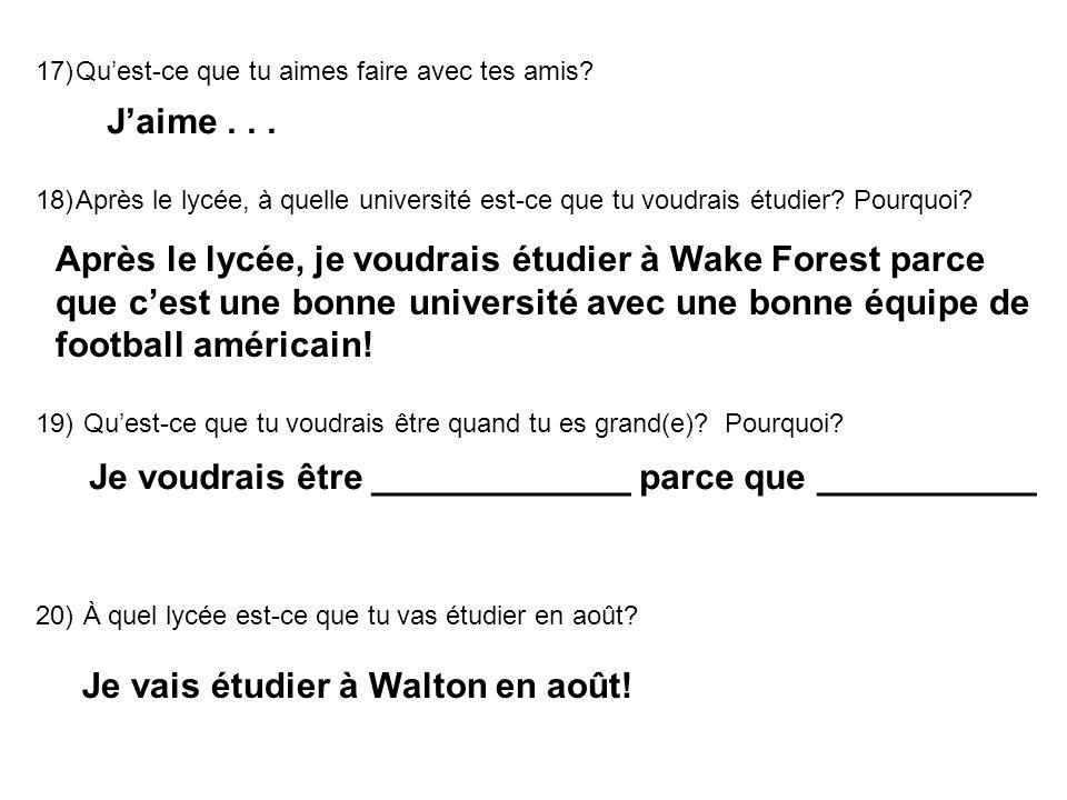 Après le lycée, je voudrais étudier à Wake Forest parce