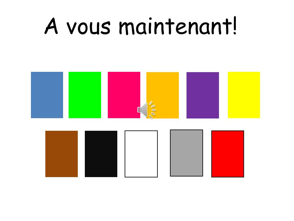 A vous maintenant! To you now! Pupils can now place this in groups.