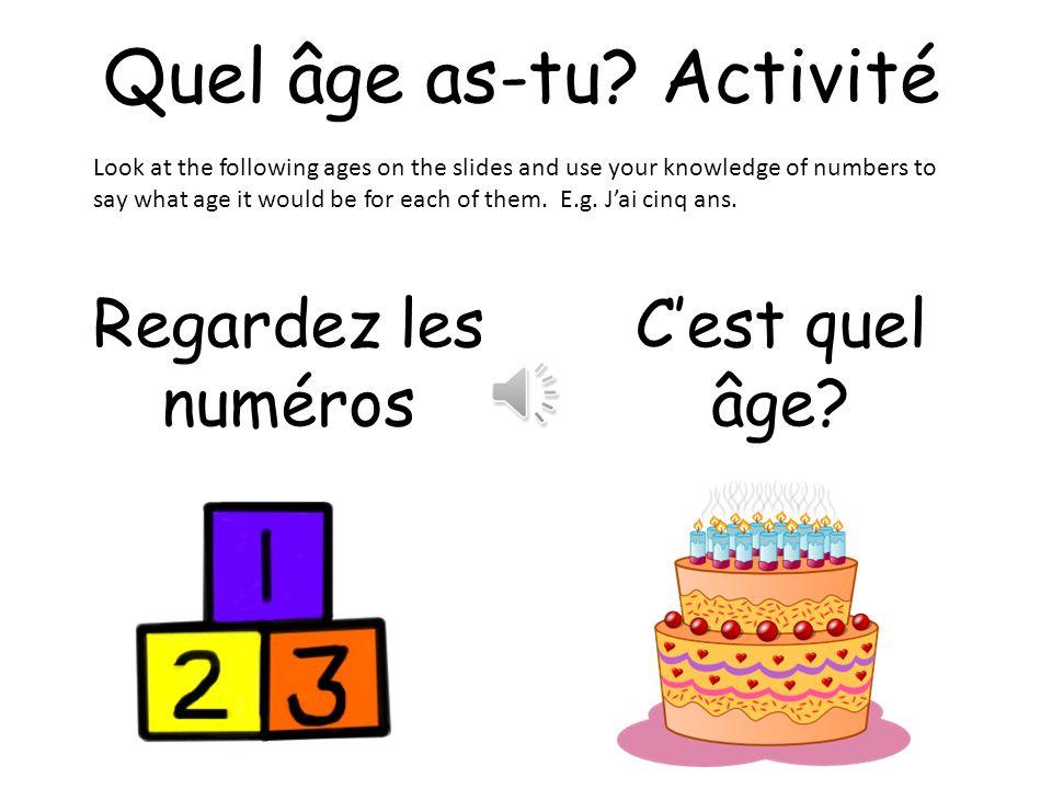 Quel âge as-tu Activité