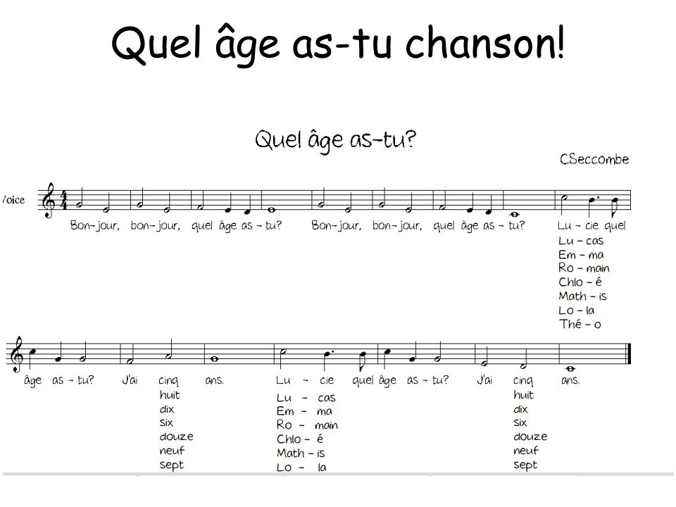 Quel âge as-tu chanson!Image contains hyperlink to http://www.sunderlandschools.org/mfl-sunderland/resources/PrimaryFrench/age-song.pdf.