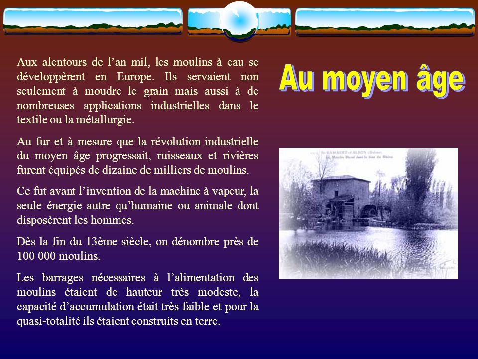 Aux alentours de l'an mil, les moulins à eau se développèrent en Europe. Ils servaient non seulement à moudre le grain mais aussi à de nombreuses applications industrielles dans le textile ou la métallurgie.