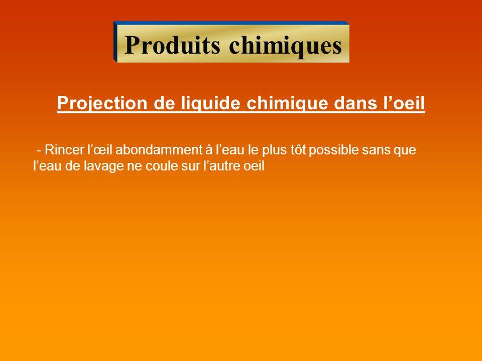Projection de liquide chimique dans l'oeil