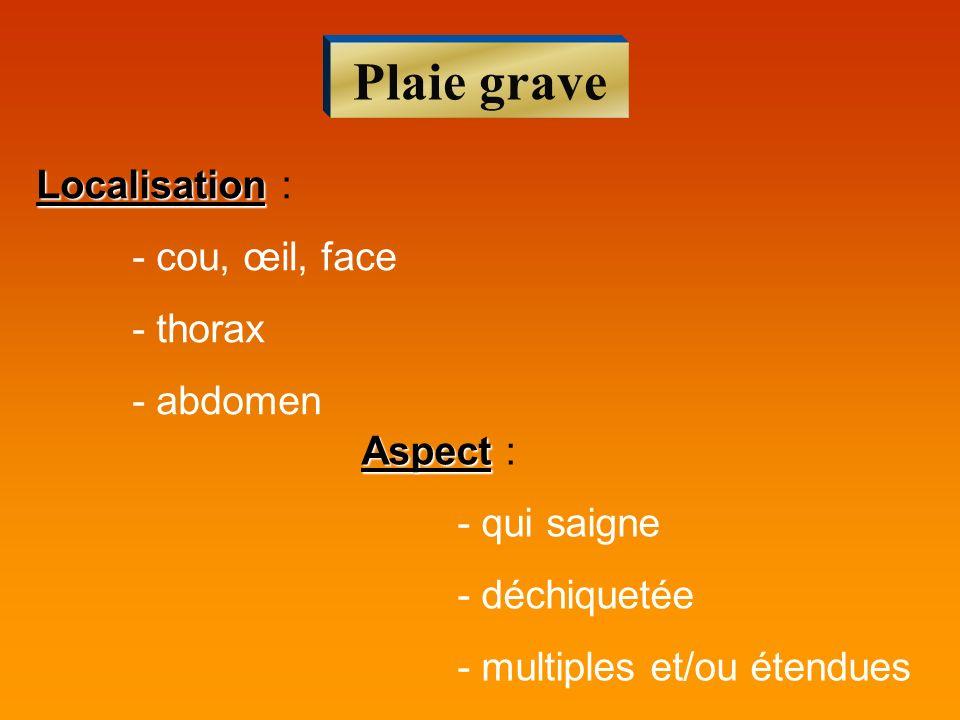 Plaie grave Localisation : - cou, œil, face - thorax - abdomen