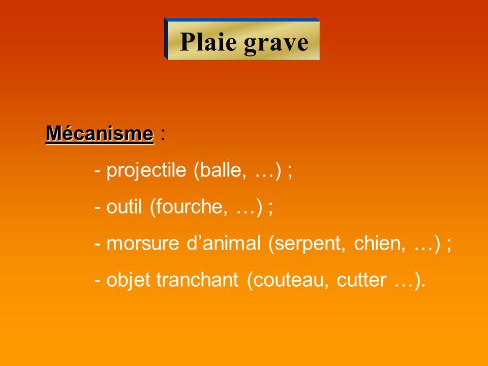 Plaie grave Mécanisme : - projectile (balle, …) ;