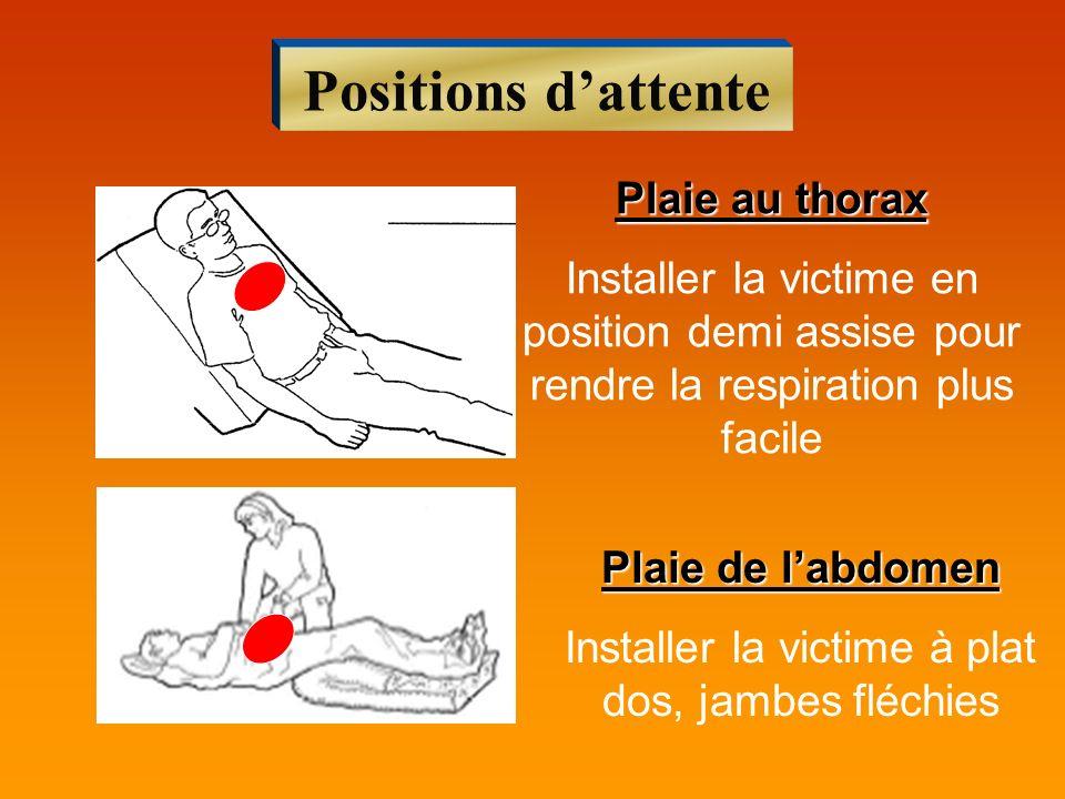 Installer la victime à plat dos, jambes fléchies