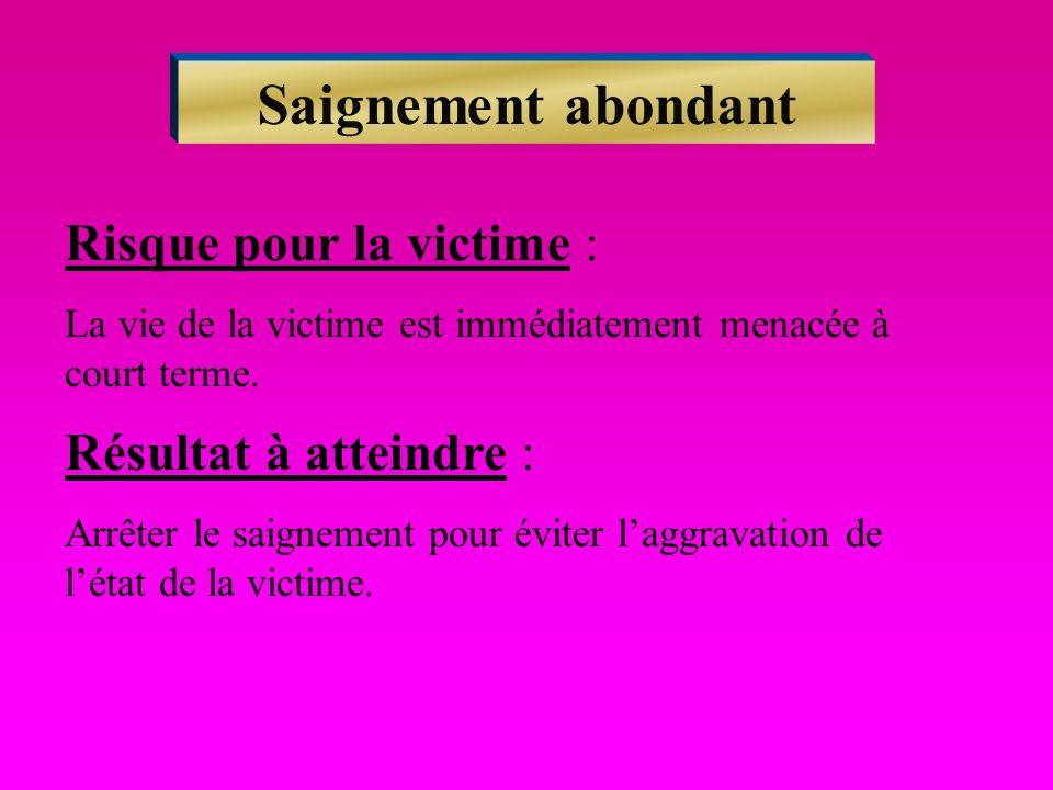Saignement abondant Risque pour la victime : Résultat à atteindre :