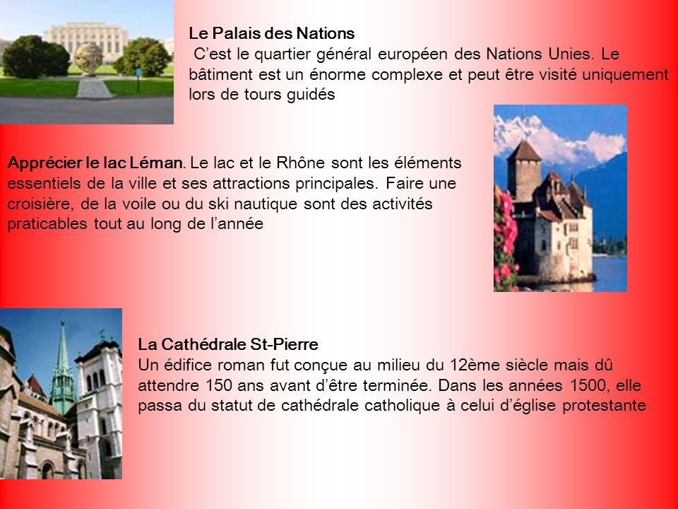 Le Palais des Nations C'est le quartier général européen des Nations Unies. Le bâtiment est un énorme complexe et peut être visité uniquement lors de tours guidés