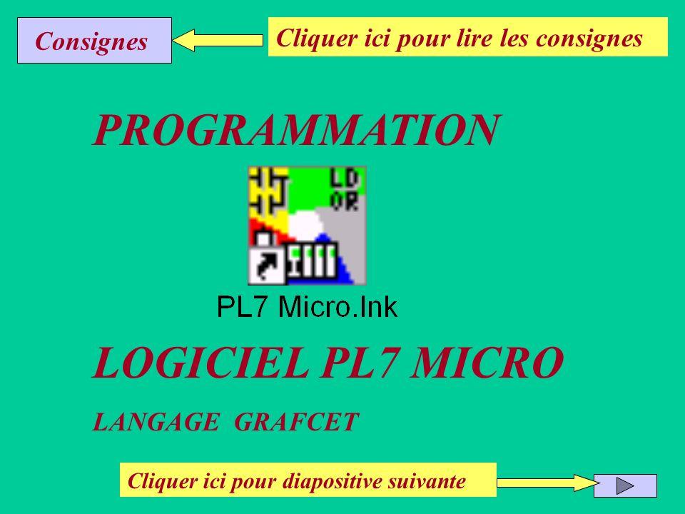 PROGRAMMATION LOGICIEL PL7 MICRO Consignes