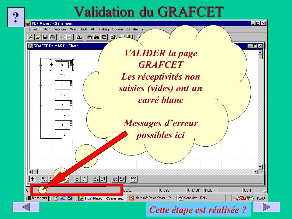 Validation du GRAFCET VALIDER la page GRAFCET