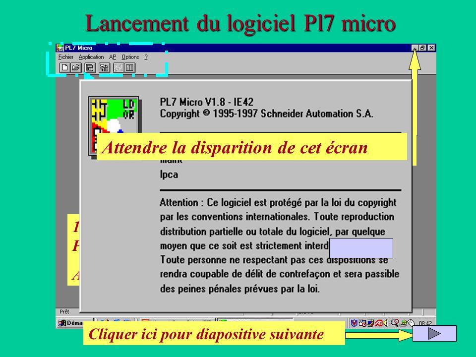 Lancement du logiciel Pl7 micro