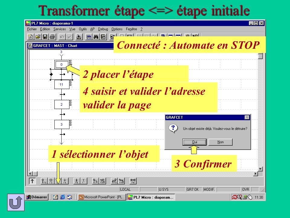 Transformer étape <=> étape initiale